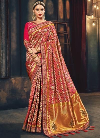 Pink Banarasi silk pure wedding wear saree