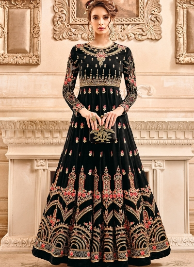 Buy Black georgette wedding wear salwar kameezin UK, USA and Canada
