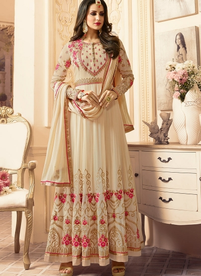 Off white georgette wedding wear salwar kameez