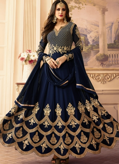 Blue georgette wedding wear salwar kameez
