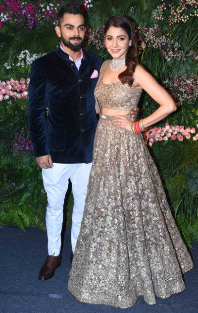 Anushka Sharma Grey Reception Lehenga