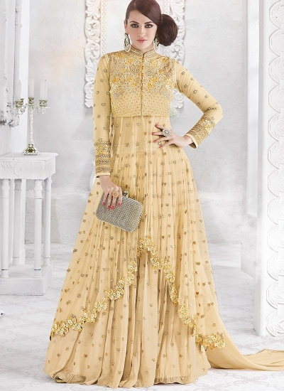 Cream color georgette and net party wear ghaghara 2-in-1 look