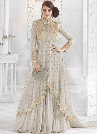 Grey color georgette and net party wear ghaghara 2-in-1 look