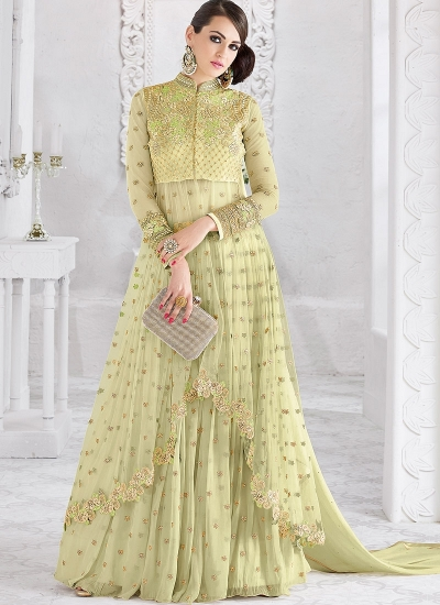 Pista Green color georgette and net party wear ghaghara 2-in-1 look