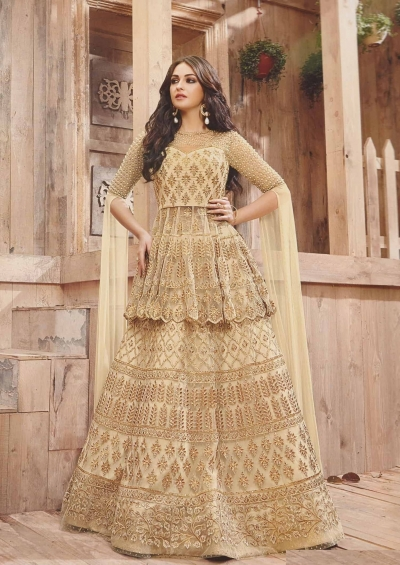 Beige and Gold Wedding Lehenga choli and Sharara -2-in-1-suit