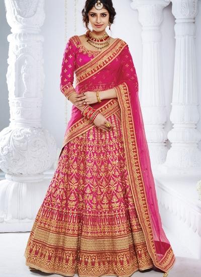 Pink color bhagulpuri wedding lehenga choli