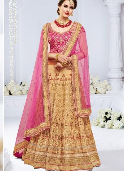 Chiku color bhagulpuri wedding lehenga choli