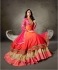 Orange pink shaded satin anarkali