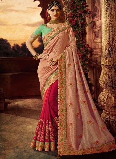 Pink and magenta silk wedding wear saree