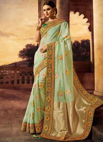 Pista green silk wedding wear saree
