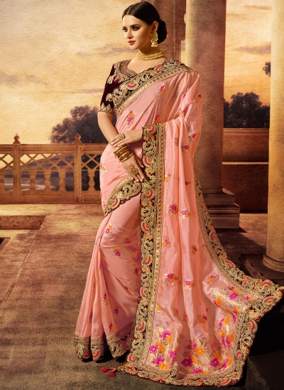 Pink color silk wedding wear saree