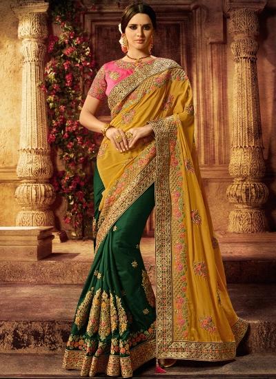 Mustard and green silk wedding saree
