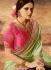 Green and blue silk wedding wear saree