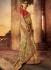 Beige and red silk wedding wear saree