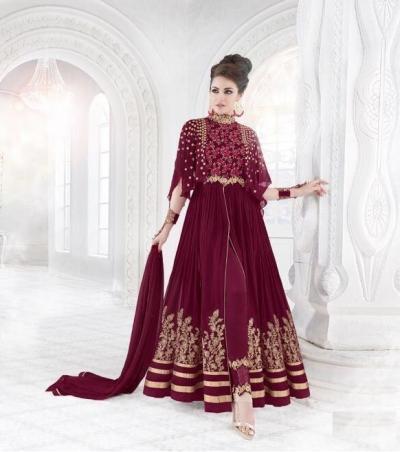 Magenta color georgette wedding wear anarkali