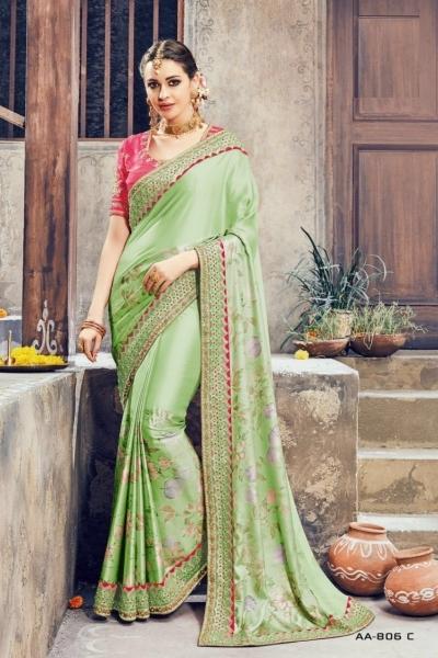 Mint green and pink crepe satin wedding wear saree