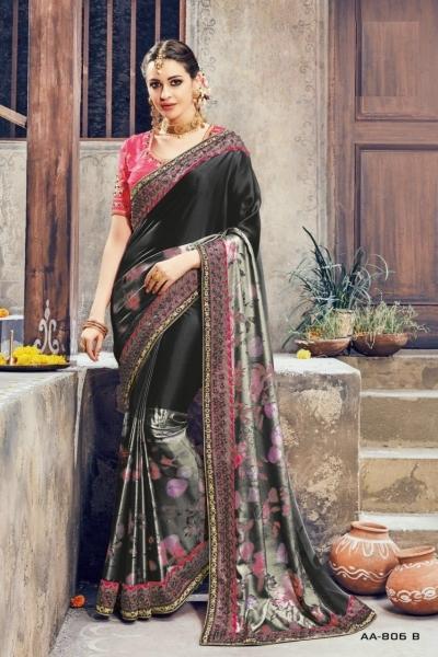Black and pink crepe satin wedding wear saree