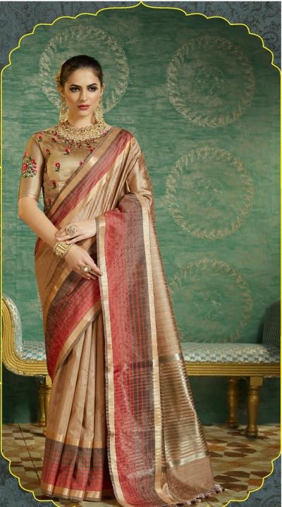 Beige color handloom weaving silk saree