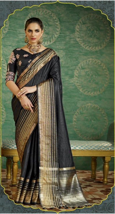 Black color handloom weaving silk saree