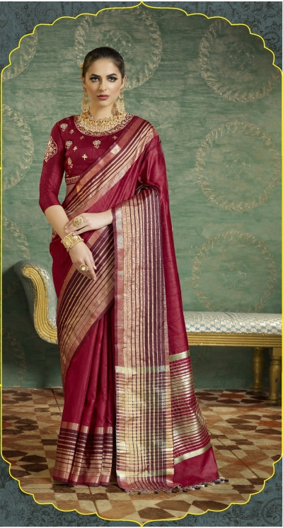 Maroon color handloom weaving silk saree