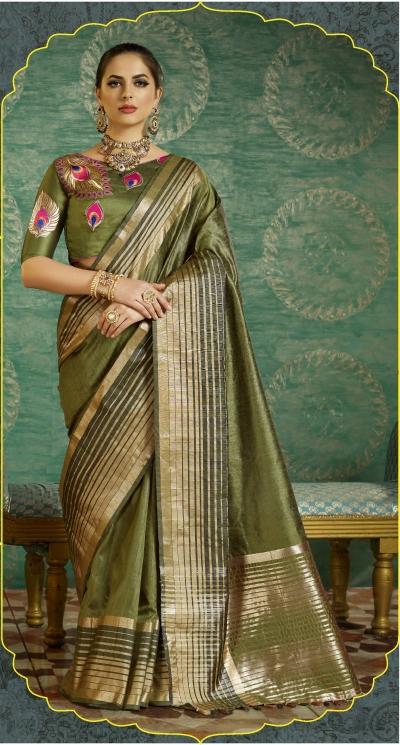 Mehandi color handloom weaving silk saree