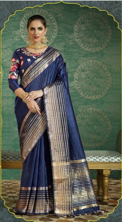 Blue color handloom weaving silk saree