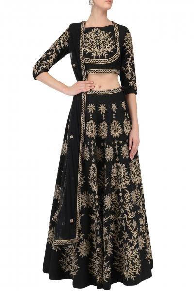 Inspired style Black Banglori silk wedding lehenga
