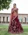 Inspired Maroon silk velvet wedding lehenga