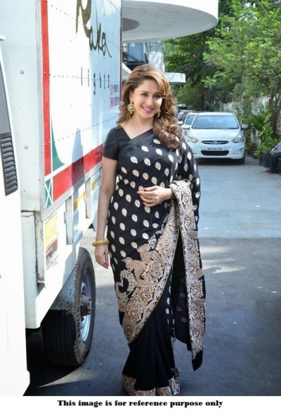 Bollywood Madhuri Dixit Black Zoya silk saree