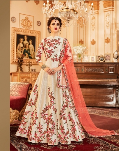 Cream and peach silk wedding wear anarkali suit
