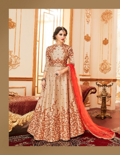 Beige silk wedding wear anarkali suit