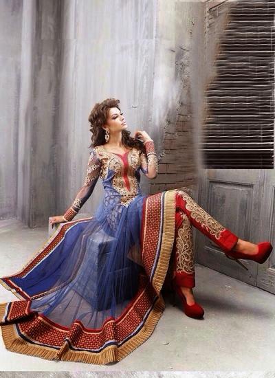 Mesmerizing blue and red heavy designer stone work wedding wear salwar kameez