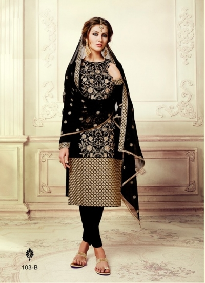 Black georgette straight cut salwar kameez
