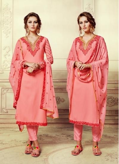 Pink georgette straight cut salwar kameez