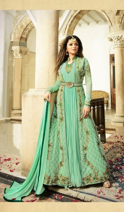 Drashti Dhami fresh green color georgette party wear anarkali kameez