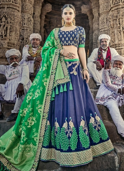 Blue and green designer wedding lehenga