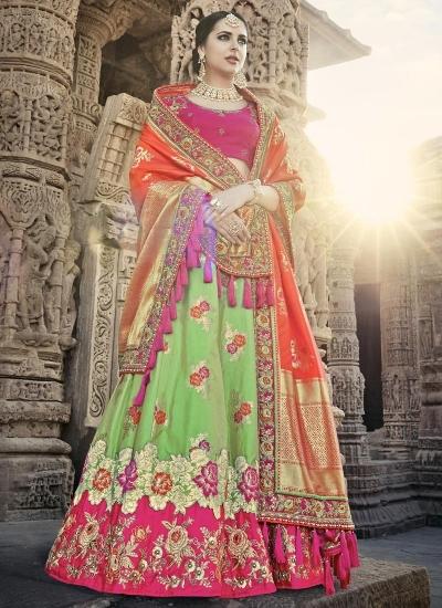 Pista green and pink color wedding lehenga