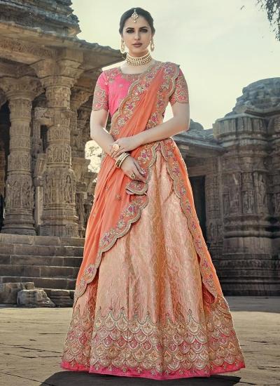 Peach color designer wedding lehenga