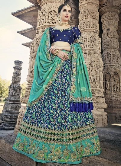 Blue color designer wedding lehenga