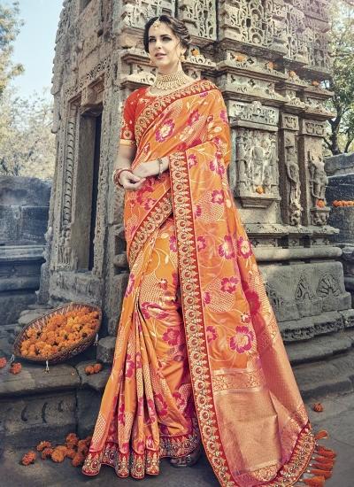 Orange and red silk wedding wear saree