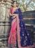 Navy blue and pink wedding wear saree