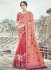 Peach and pink silk wedding wear saree