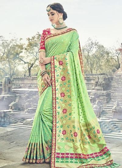 Green and pink silk wedding wear saree