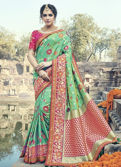 Dark green and pink silk wedding wear saree