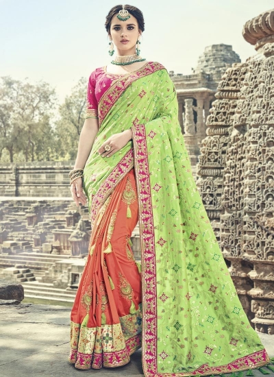 Liril green orange and pink silk wedding wear saree