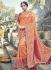 Peach and red silk wedding wear saree