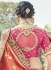 Orange and pink silk wedding wear saree