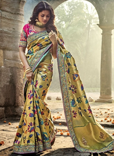 Gold and Pink Color Pure Banarasi Silk wedding wear saree