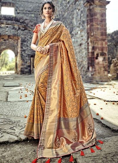 Orange and red Pure Banarasi Silk wedding wear saree