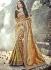 Gold and brown color Pure Banarasi Silk wedding wear saree
